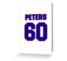National Hockey player Justin Peters jersey 60 Greeting Card