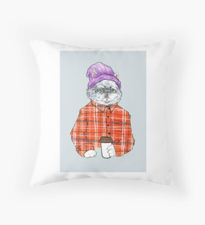 Obnoxious Third Wave Coffee Cat Throw Pillow