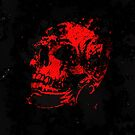 Red Devil's Skull Creepy Artwork by Val  Brackenridge