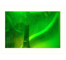Green Glass Bottle Lamp Art Print
