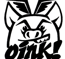 Flying Oink! Pig Stencil Logo.. by Oinkartist