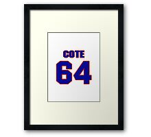 National Hockey player Jean-Philippe Cote jersey 64 Framed Print