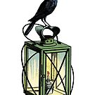 Crow on Lantern by Zehda