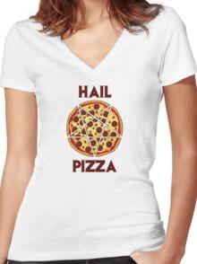 Hail Pizza Women's Fitted V-Neck T-Shirt