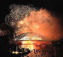 Amber Haze - New Years Eve, Sydney Harbour        by Philip Johnson