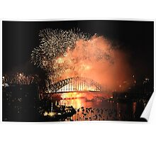 Amber Haze - New Years Eve, Sydney Harbour        Poster