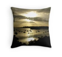 sunrise breaking through over Cunningham Pier Throw Pillow