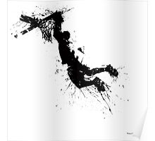 Basketball player dunk inked Poster