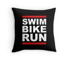 Triathlon - SWIM BIKE RUN -Run DMC Style Throw Pillow