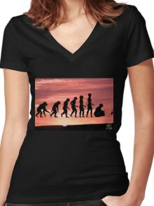 """Evolution on """"Pause"""" Women's Fitted V-Neck T-Shirt"""