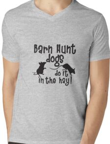 Barn Hunt dogs do it in the straw! Mens V-Neck T-Shirt