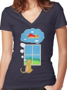 Cats Just Wanna Have Fun Women's Fitted V-Neck T-Shirt