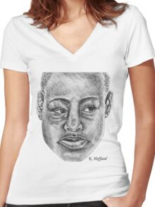 African Woman Women's Fitted V-Neck T-Shirt