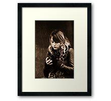 Text message girl Framed Print