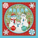 Winter Christmas Joy Snowman Family by Jamie Wogan Edwards