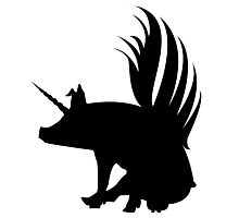 Flying Pig Unicorn Silhouette   Photographic Print
