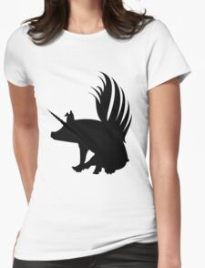 Flying Pig Unicorn Silhouette   Womens Fitted T-Shirt