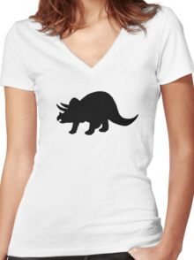 Dinosaur triceratops Women's Fitted V-Neck T-Shirt