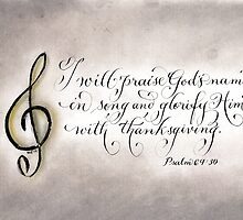 Treble clef praise Psalm 69:30 calligraphy art by Melissa Goza
