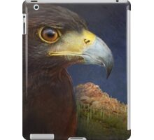 harris hawk portrait with saguaro mountain iPad Case/Skin