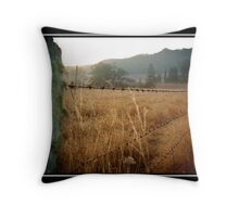 Barb Wire Fence Throw Pillow