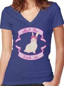Lovely STFU Bunny Women's Fitted V-Neck T-Shirt