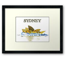 Sydney Opera House - Black ink Framed Print