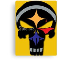 Pittsburgh Steelers Punisher Logo Team Colors Canvas Print