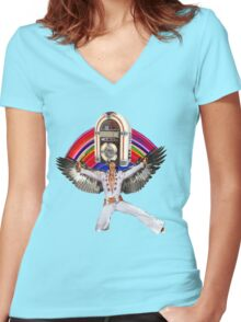 Elvis Brings Forth the Jukebox from the Rainbow in His Magnificent Wings Women's Fitted V-Neck T-Shirt