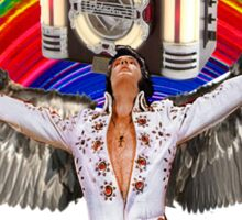 Elvis Brings Forth the Jukebox from the Rainbow in His Magnificent Wings Sticker