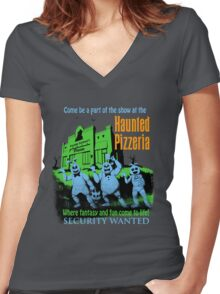 The Haunted Pizzeria Women's Fitted V-Neck T-Shirt