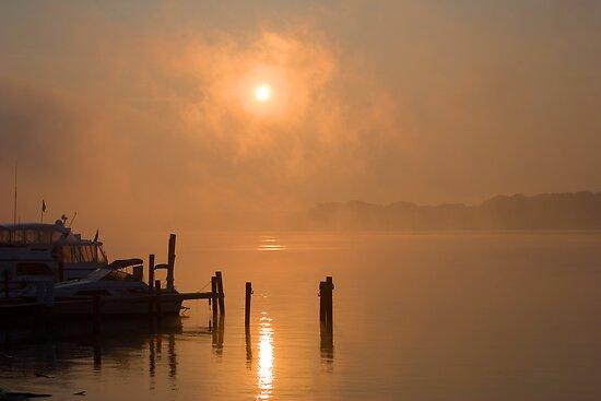 Foggy Ohio River by doorfrontphotos