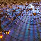 Wheel, puddle, trees. by science