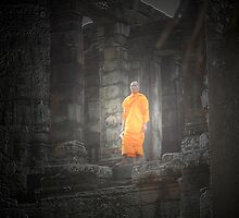 monk in angkor by Amagoia  Akarregi