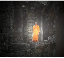 monk in angkor Photographic Print