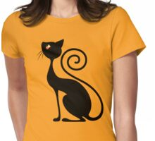 Black Cat Vintage Style Design Womens Fitted T-Shirt
