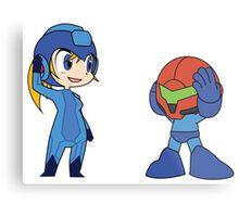 Chibi Zero Suit Samus and Megaman Metal Print