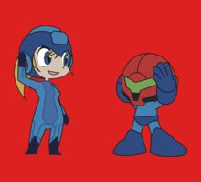 Chibi Zero Suit Samus and Megaman Kids Tee