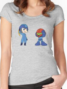 Chibi Zero Suit Samus and Megaman Women's Fitted Scoop T-Shirt