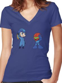 Chibi Zero Suit Samus and Megaman Women's Fitted V-Neck T-Shirt