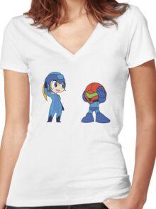 Chibi Zero Suit Samus and Megaman Women's Fitted V-Neck T-Shirt