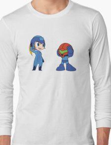 Chibi Zero Suit Samus and Megaman Long Sleeve T-Shirt