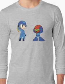 Chibi Zero Suit Samus and Megaman Long Sleeve T-Shirt