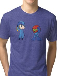 Chibi Zero Suit Samus and Megaman Tri-blend T-Shirt