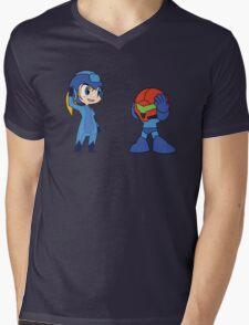 Chibi Zero Suit Samus and Megaman Mens V-Neck T-Shirt
