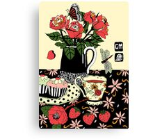 camellia tea with roses Canvas Print