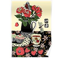 camellia tea with roses Poster