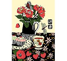 camellia tea with roses Photographic Print