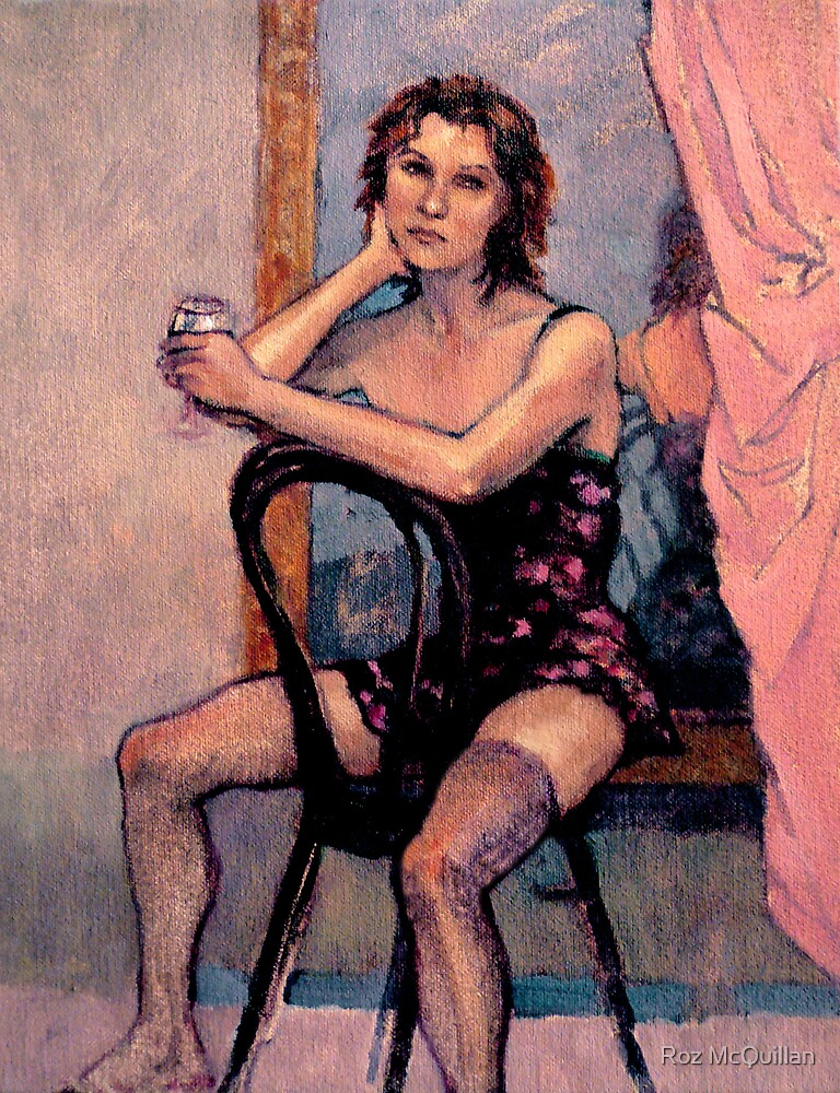 A Glass of Wine : oil painting on stretched canvas by Roz McQuillan