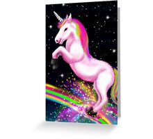 Fluffy Pink Unicorn Dancing on Rainbows Greeting Card